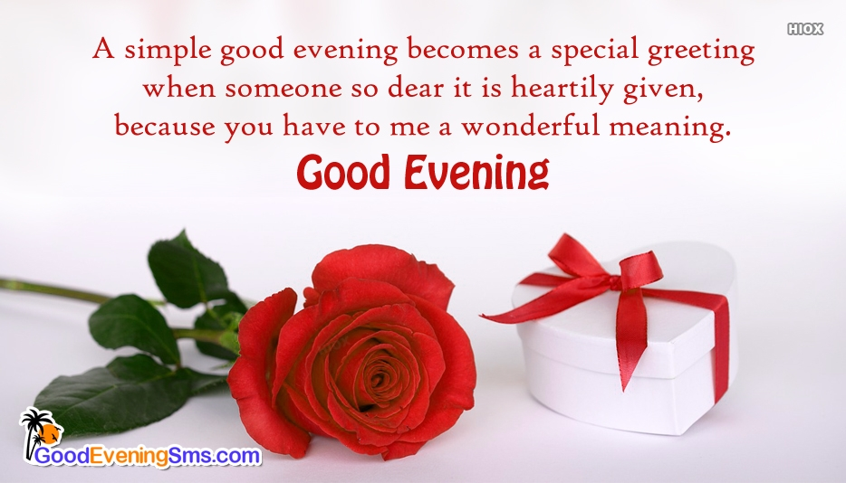 A Simple Good Evening Becomes A Special Greeting When Someone So Dear It is Heartily Given, Because You Have To Me A Wonderful Meaning - Good Evening