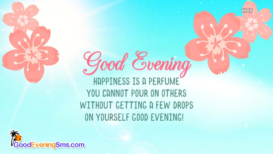 Good Evening SMS for Blue Background
