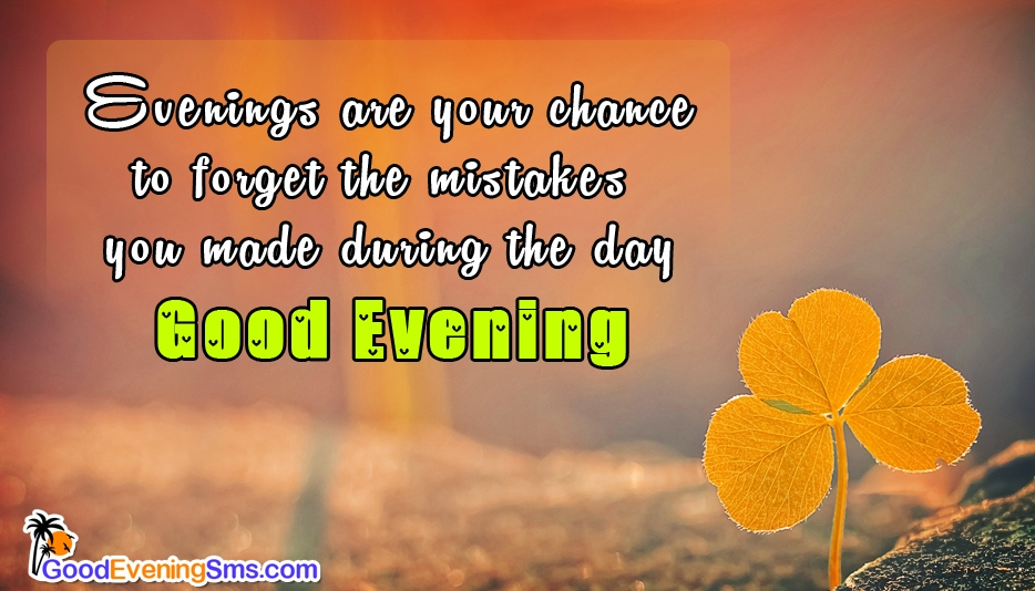 Evenings Are Your Chance To Forget The Mistakes You Made During The Day. Have a Cool Evening