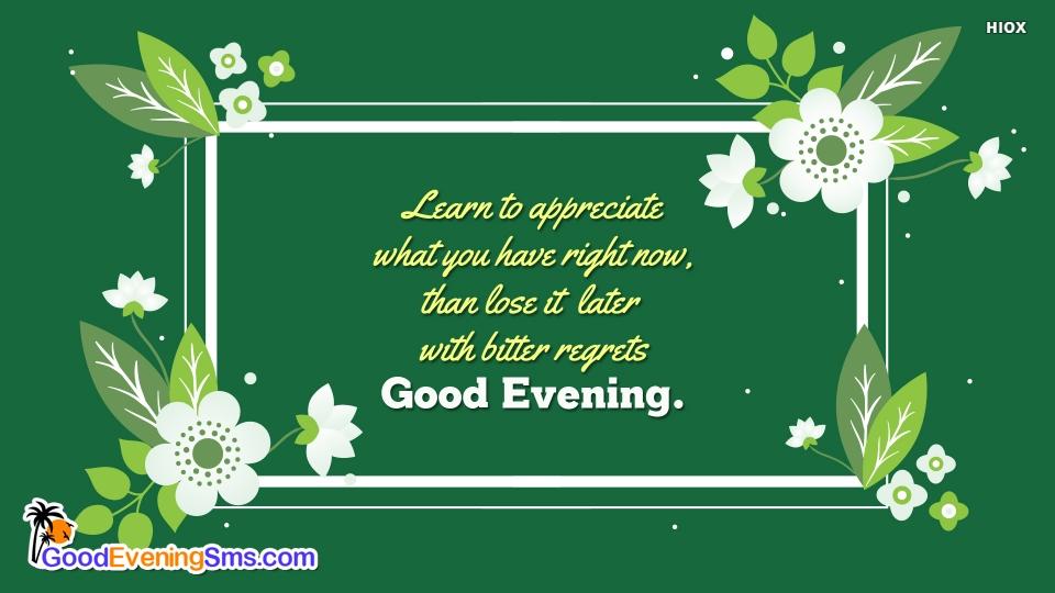 Good Evening SMS for Appreciate