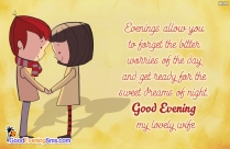 Good Evening Quote To Lovely Wife