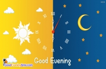 Good Evening Wishes Picture with Clock Design