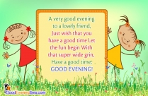 Good Evening To Lovely Friend Message