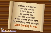 Good Evening SMS for Wallpaper